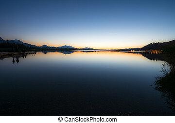 hopfen, 日落, 湖