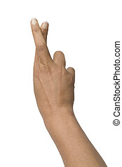 Crossed fingers on white background