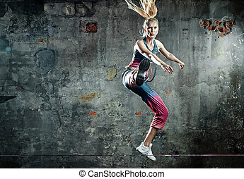 hopp, atlet, pose, dam, blondin