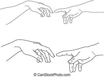 hopp, gud, hjälp, illustration, vektor, adam, räcker, toucha