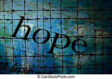 hopp, och, barbwire, begrepp