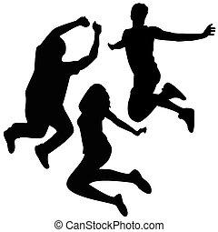 hopp, silhouettes., 3, vänner, jumping.