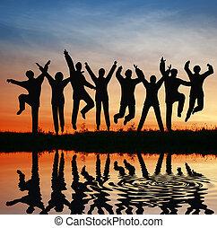 hopp, silhuett, team., solnedgång, damm