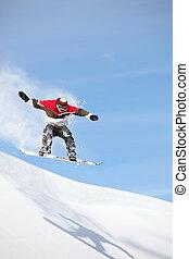 hopp, utföre, snowboarder, imponerande