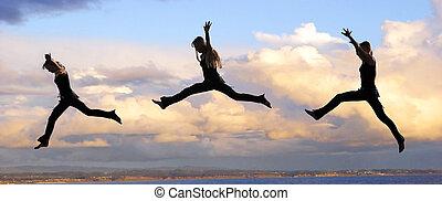 hoppa, kvinna, hos, solnedgång