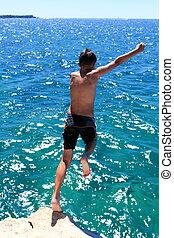 hoppande, den, blå ocean