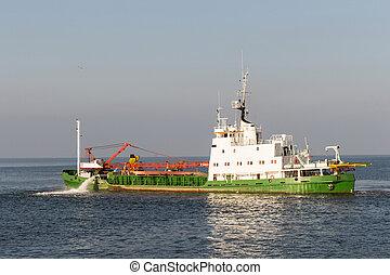 Hopper Dredger Vessel working in open sea