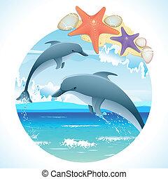hoppning, delfiner