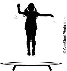 hoppning, flicka, trampolin