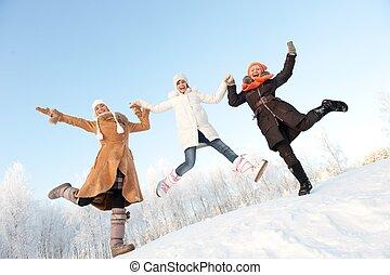 hoppning, flickor, snö, lycklig