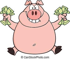 hoppning, kontanter, gris, rik