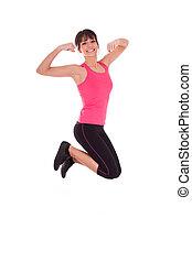 hoppning, kvinna, vikt, glädje, fitness, förlust