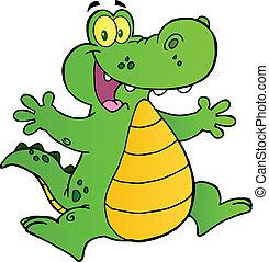 hoppning, lycklig, alligator