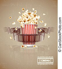 hoppning, popcorn, och, film filma, tejpa