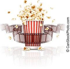 hoppning, popcorn, och, film-strip, film