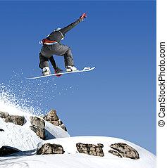 hoppning, snowboarder