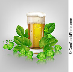 hops, стакан, пиво
