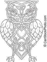 Celtic Knotwork illustration of a stylized owl with barley above eye and hops for wings viewed from front on isolated background.