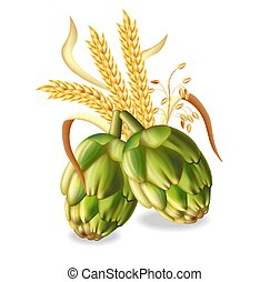 Hops and wheat ears Vector realistic. green fresh hops natural poster. 3d illustrations