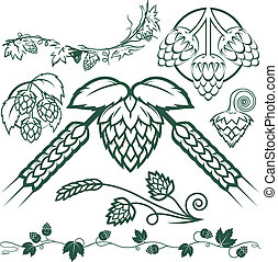 Clip art collection of hops symbols and icons