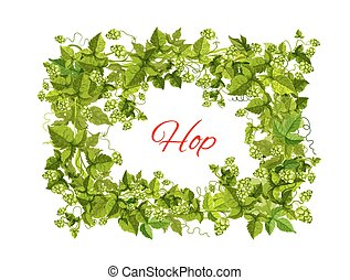 Hops frame of leaf and cone for brewery design