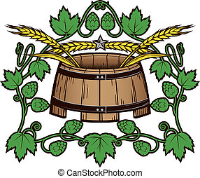 Hops 'n Wheat Barrel - A crest of beer ingredients with mash...