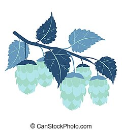 Hops plant cartoon colorful flat vector. Color minimalistic style