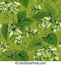 Hops seamless pattern - Vintage seamless pattern with green...