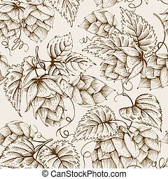 Hops seamless pattern - Vintage seamless pattern with hops...