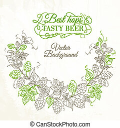 Hops with leafs isolated on white. Vector illustration.