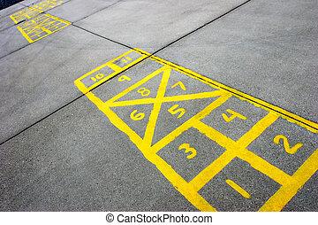 hopscotch board at schoolyard - yellow hopscotch boards...