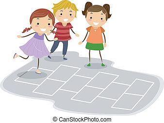 Hopscotch - Illustration of Kids Playing Hopscotch