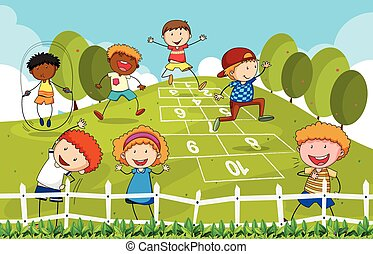 Hopscotch - Children playing hopscotch in the park