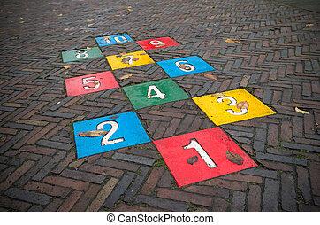 hopscotch game - colorful hopscotch game on a public street