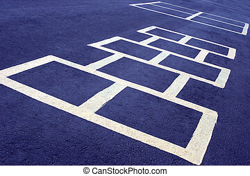 hopscotch game white on blue - hopscotch game at a school,...
