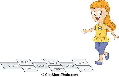 Hopscotch - Illustration of a Kid Playing Hopscotch