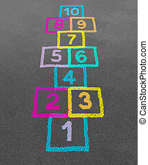 Hopscotch in a schoolyard on an asphalt floor with chalk ...