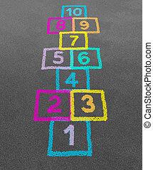 Hopscotch in a schoolyard on an asphalt floor with chalk...