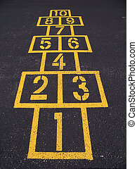 Hopscotch squares on blacktop