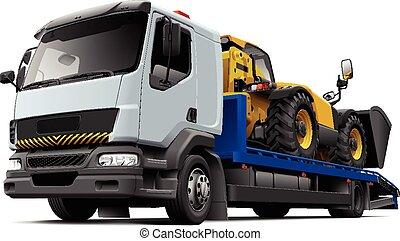 hopskjutbar, förlagehanterare, flatbed, återvinnande, fordon