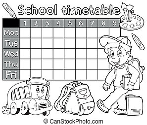 horário, 1, escola, tinja livro