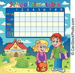 horário, escola, duas crianças