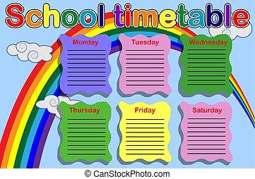 horário, pintura, escola, latas