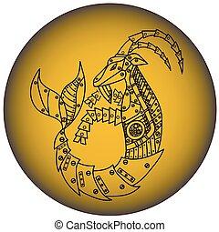 horóscopo, capricórnio, steampunk, sinal., animal., style.