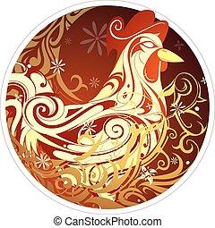 horóscopo chinês, símbolo, galo, ano, novo, 2017