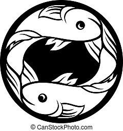 horóscopo, pez, señal, piscis, zodíaco, astrología