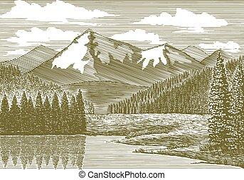 hora, řeka, dřevoryt