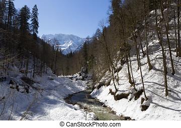 hora, bavorsko, zima, partnachklamm, garmisch-partenkirchen,...