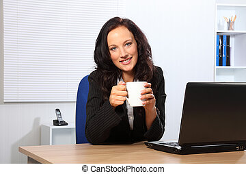 hora café, para, mulher bonita, em, escrivaninha escritório