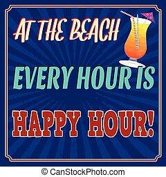 hora, cartel, cada, retro, playa, feliz